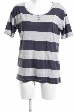 Boss Orange T-Shirt hellgrau-dunkelblau Streifenmuster Casual-Look