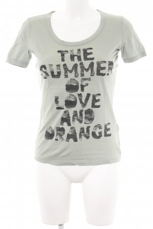 Boss Orange T-Shirt hellgrau-schwarz Motivdruck Casual-Look