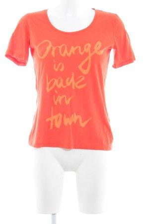 Boss Orange T-Shirt orange-hellorange Schriftzug gedruckt Casual-Look