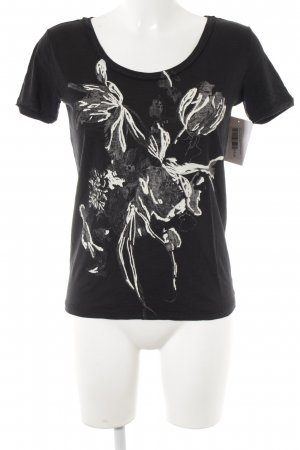 Boss Orange T-Shirt schwarz florales Muster Casual-Look
