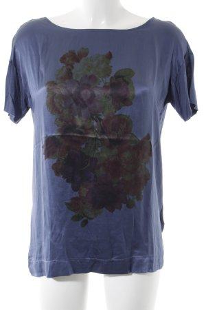Boss Orange T-Shirt stahlblau-kornblumenblau Blumenmuster Casual-Look