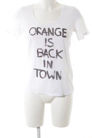 Boss Orange T-Shirt weiß-dunkelgrau Schriftzug gedruckt Casual-Look