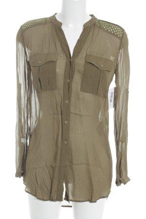 Boss Orange Transparenz-Bluse khaki minimalistischer Stil