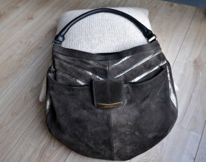 BOSS ORANGE Wildleder Shopper Grau Silber Metallic große Tasche