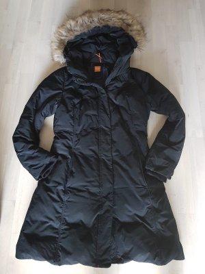 Boss Orange Wintermantel Daunenjacke Gr. 40 schwarz Fake Fur