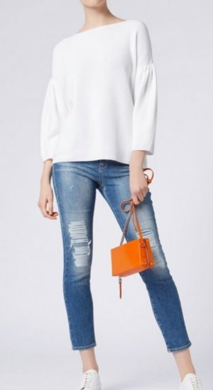BOSS-Pullover weiß Baumwolle / Seide