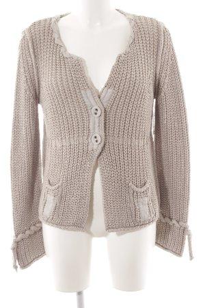 Bottega Cardigan en crochet beige torsades style décontracté