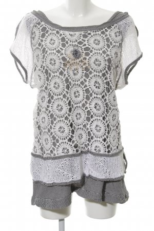 Bottega Crochet Shirt white-black striped pattern casual look