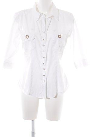 Bottega Hemd-Bluse weiß-goldfarben Elegant