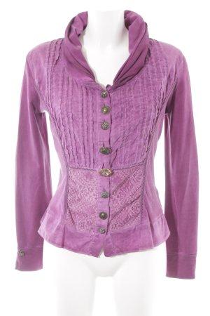 Bottega Kurzarm-Bluse purpur Vintage-Look