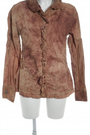 Bottega Long Sleeve Blouse brown-russet spots-of-color pattern extravagant style