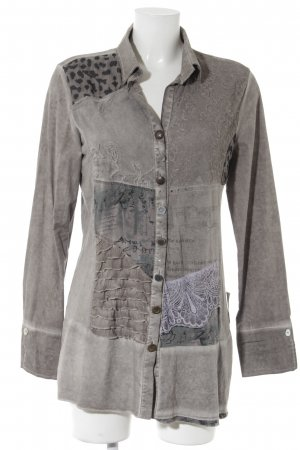 Bottega Langarm-Bluse graubraun Batikmuster extravaganter Stil