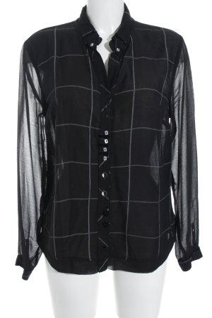 Bottega Langarm-Bluse schwarz-hellgrau Karomuster Business-Look