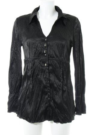 Bottega Langarm-Bluse schwarz Schimmer-Optik