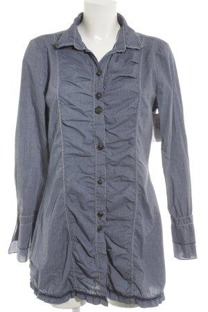 Bottega Long-Bluse stahlblau Schriftzug gestickt Casual-Look