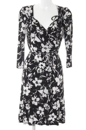 Bottega Minikleid schwarz-weiß Blumenmuster Casual-Look