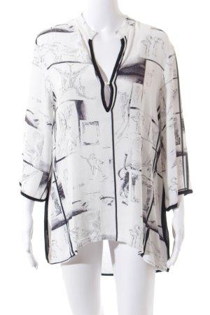 Bottega Tunikabluse schwarz-weiß abstraktes Muster Transparenz-Optik