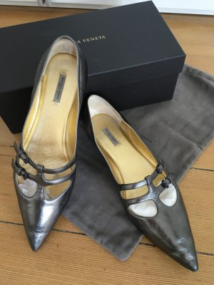 Bottega Veneta Ballerinas, Anthrazit metallic, Gr.40