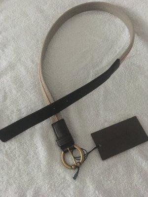 Bottega veneta gürtel 70cm leder canvas beige braun bronze