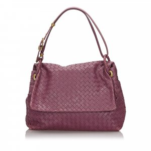 Bottega Veneta Shoulder Bag purple leather