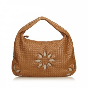 Bottega Veneta Leather Flower Intrecciato Hobo