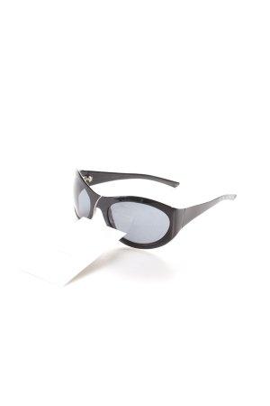 Bottega Veneta ovale Sonnenbrille schwarz Metallelemente