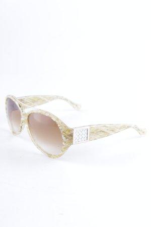 Bottega Veneta Pilot Brille beige-weiß Streifenmuster extravaganter Stil