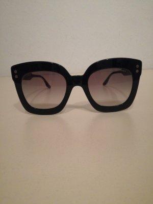 Bottega Veneta Lunettes de soleil angulaires noir-taupe matériel synthétique