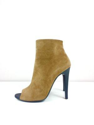 Bottega Veneta Wildleder Peeptoes Stiefeletten Boots Gr. 38 Braun
