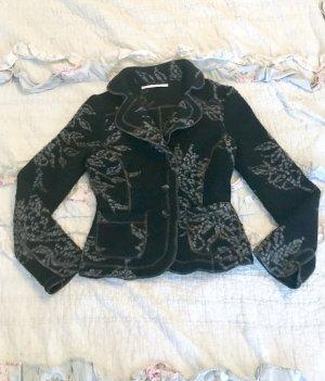 Bottega Woll-Blazer Blazer Jacke selten ausgefallen schwarz grau Gr S wie neu individuell Boho