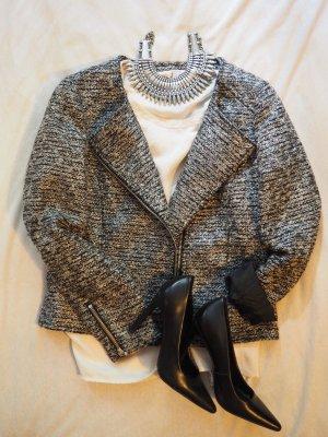 Bouclé Jacke grau meliert mit Reißverschluss H&M