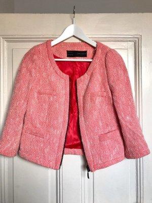 Zara Chaqueta corta rojo claro-magenta