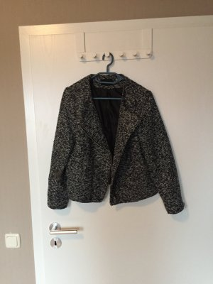 Bouclé-Jacke von H&M / schwarz-weiss