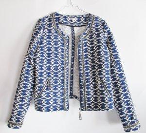 Boucle Jaquard Jacke Blazer Tramontana Größe M 38 40 Blau Navi Weiß Ikat Grafisch Muster Webstoff
