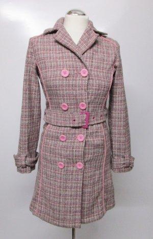 Boucle Trenchcoat Mantel edc Esprit Größe 34 36 Rosa Grau Pink Doppelreiher Wolle Viskose Gürtel Business Coat Übergangsmantel