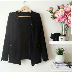Bouclé Tweed Blazer mit Nieten von Zara
