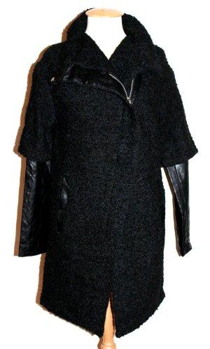 Bouclé Übergangs- Mantel Wolle Leder L-38