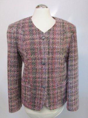 Boucle Wollblazer Jacke Lebek Größe 42 Rosa Lila Grau Schwarz Business Klassisch Blazer Büro Kastenjacke Jacke Royal