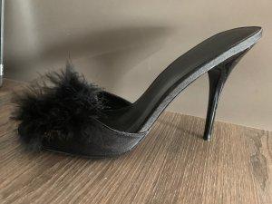 Heel Pantolettes black textile fiber