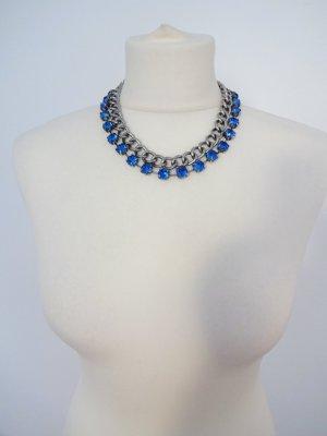 boutique Kette mit royalblauen kristallsteinen