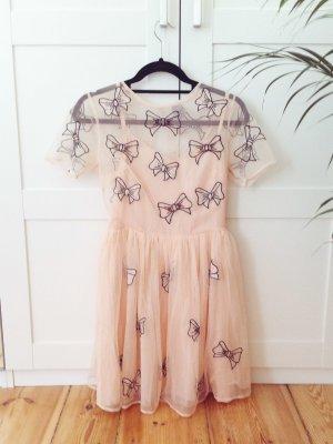 Bow Love   Beige-farbenes Skater-Kleid mit Schleifchen-Stickerei