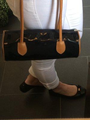 Bowling Bag Handtasche Lack schwarz braun beige