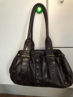 Coccinelle Bowling Bag dark brown leather