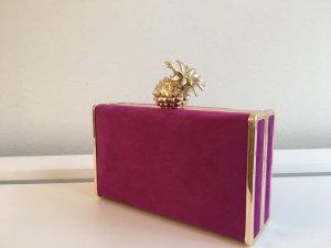 Box Clutch / Crossbody Bag ZARA m. Ananas Magenta, NEU