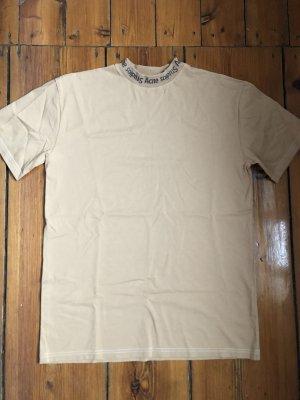 Acne T-shirt beige-noir coton