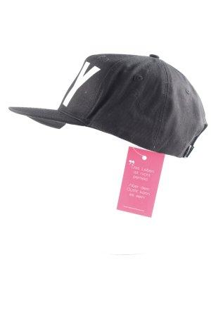 BOY LONDON Sombrero de tela negro-blanco letras impresas estilo skater
