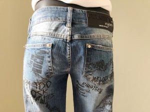 Boyfriend Denim Blue Jeans von MET mit Graffiti Aufdruck Größe 29