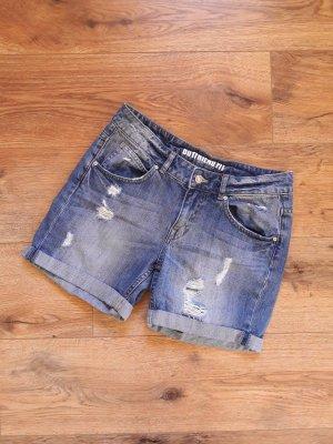 Boyfriend Destroyed Ripped Jeans Shorts dunkelblau Gr. 36