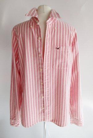 Boyfriend Hemd Bluse Hollister California Größe XL 38 40 Rosa Weiß Streifen Logo Hemdbluse Baumwolle