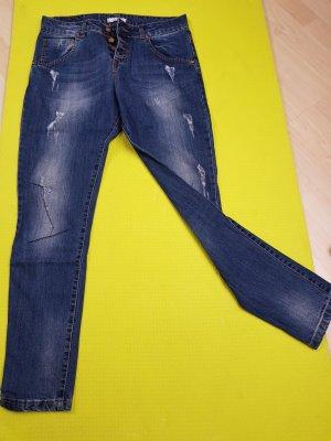 Boyfriend jeans staalblauw Katoen